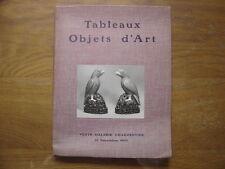 Catalogue de Vente aux Encheres 1950 OBJETS D'ART succession BIDDLE Pissaro