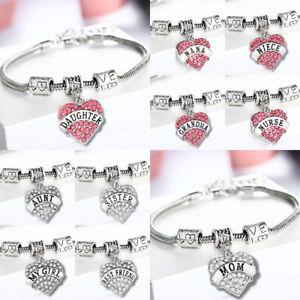 Fashion Family Bangle Charm Bracelet Love Words Heart Women Crystal Jewellery
