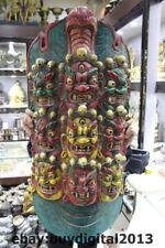 "39"" Tibet Buddhism Temple Old Wood Paint Nine Dragon Mahakala Buddha Head Mask"