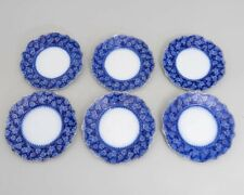 "Set of 6 Antique WH Grindley 'Grace Gold' Flow Blue 9"" Salad Luncheon Plates"
