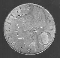 10 Schilling Österreich 1958 Silber in vz./vz. +