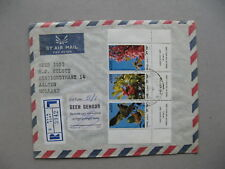 ISRAEL, R-cover to the Netherlands 1982, strip of 3 from S/S trees
