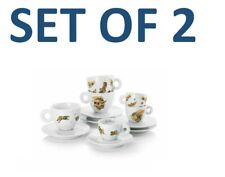 illy Art Collection 2018 Max Petrone 2 Cappuccino Coffee Cups Set + Saucers NEW