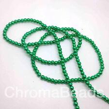 4 Mm Cristal Perlas de Imitación De Filamento-Verde Esmeralda (más de 200 granos) la fabricación de joyas