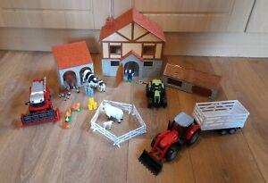 HTI TOYS FARM BUILDINGS + UNBRANDED ANIMALS FARM SET