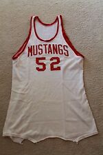1950s Vintage SMU Mustangs Game Used #55 White Durene College Basketball Jersey