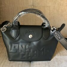 Longchamp BLACK MINI Le Pliage Cuir Cowhide Top Handle Crossbody Bag LOGO Design