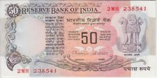 """India P84G 50 Rupees Sig 86 inset A, usual stapler holes, A/U,  """"WE COMBINE"""""""