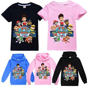 Kids Boys Girls PAW PATROL Short Sleeve T-Shirt Hoodie Hooded Sweatshirt Jumper