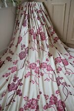 LAURA ASHLEY MARCIANA CRANBERRY CURTAINS,72WX90D,OFF WHITE,RED,TAPE,HUGE,HEAVY