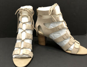 Marc Fisher Paradox Suede Lace-Up Block Heel Sandals Womens Size 7 M Tan