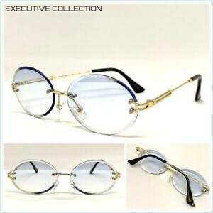 Classy Elegant Sophisticated LUXURY SUNGLASSES Rimless Gold Frame Oval Blue Lens