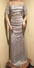 NWT Badgley Mischka Collection Platinum Color Lace Evening Gown, 6