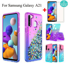 For Samsung Galaxy A21 Shockproof Bling Clear Armor Case Cover+Screen Protector