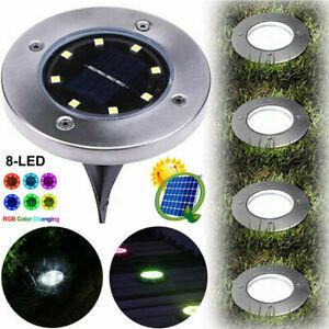 8-LED Solar Ground Light Outdoor Yard Floor Garden Waterproof Disk Lamps 1/4PCS