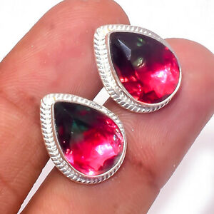 Watermelon Tourmaline Gemstone Handmade Jewelry Cufflinks E12840