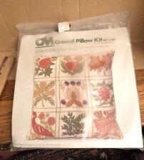 "New listing Nip Vintage Columbia Minerva folk Art Crewel Pillow Kit 14"" x 14"""