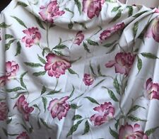 Sanderson Flower patterned unlined pencil pleat curtains,pelmet and tie backs