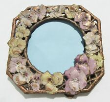 Antique Gilt Metal Picture Frame w Enameled Flowers