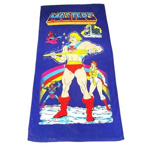 "Vintage 1985 Masters Of The Universe HE-MAN Beach Towel 30""x58"" Mattel GUC Rare"