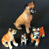 BOXER DOG FIGURINES BONE CHINA PORCELAIN LOT OF 4 VINTAGE COLLECTIBLE