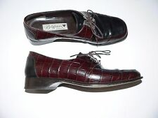 BRIGHTON 7M leather lace-up oxfords shoes Italy brown/black moc croc silver