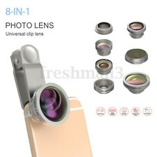 8-in-1 Clip On Fisheye+Wide Angle+Macro Camera Lens Kit For Mobile Cell Phone