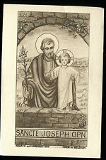 ANTIQUE HOLY CARD OF ST JOSEPH AND JESUS