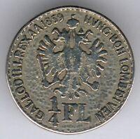 Lombardei/Venetien Unifomknopf mit Motiv vom 1/4 Florin von 1859 -silberfarbend