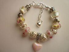 Silver Tone European Style Charm Bracelet Pink Heart Lampwork Glass Beads