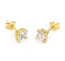 9ct Gold Plated Sterling Silver 5mm Clear Square CZ Crystal Stud  Earrings