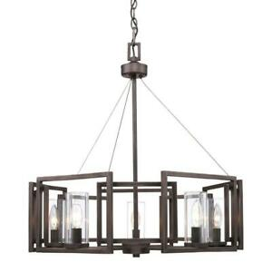 Golden Lighting Chandelier 5-Light Steel Dimmable Clear Glass Gunmetal Bronze
