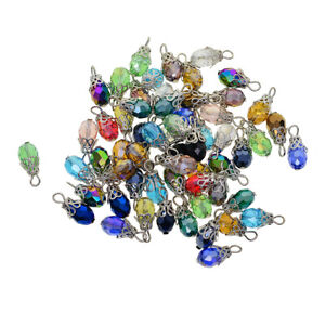 50 Pack Assorted Color Faceted Drop Glass Charm Beads, Crystal Glass Chandelier
