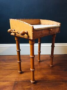 Antique Victorian Faux Bamboo Washstand Single Frieze Drawer Apprentice Piece