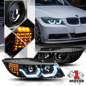 Black [DUAL 3D U-HALO] Projector Headlight LED Signal for 06-08 BMW E90 3-Series