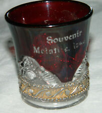 Vintage EAPG Souvenir McINTIRE IOWA Ruby Flash Toothpick Holder with Gold Band