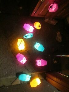 String of 10 Blow Mold Plastic Owls Patio RV Camping Party Lights Pastel Colors