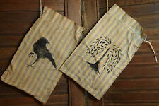 New ListingPrimitive 2 Ditty Seed Bags Crow Willow Tree Drawstring Blue Striped Cotton