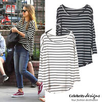 Striped Draped Slouchy Oversized T Shirt Bat-wing Top AUS Hi Low Tee RRP $25 14