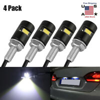 Silver Universal LED License Tag Plate Bolt Lights for Motorcycles Cars Trucks