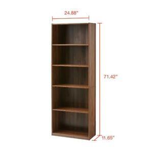 "71"" Tall Adjustable 5-Shelf Wood Bookcase Storage Shelving Book Wide Bookshelf"