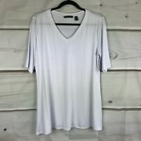 H by Halston Essentials Elbow Sleeve V Neck Tunic Wide Side Slits Womens Top M