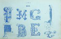 1865 Ornamental Alfabeto Estampado ~ Iniciales