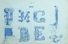 1865 Ornamental Alphabet Aufdruck ~ Initialen