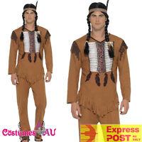 Mens Native Western Warrior Costume Cowboy American Wild West Indian Fancy Dress