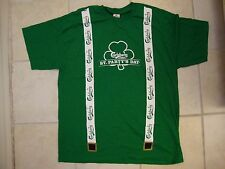 Carlsberg Presents St. Patrick's Day Suspenders Beer Drinking Patty's T Shirt XL