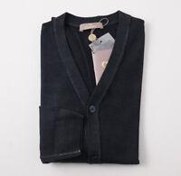 NWT $695 CRUCIANI Dark Pine Green Garment-Dyed Merino Wool Cardigan Sweater L