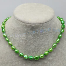 Beauty 8-9mm Grass Green Freshwater Cultured Baroque Pearl Necklace 14-28''