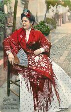 c-1910 Sevilla Spain Ethnic Dress Woman undivided postcard 11476