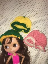 "Crocheted Hats For 12"" Neo Blythe doll Takara doll Gown Outfit Clothes Lot of 3"